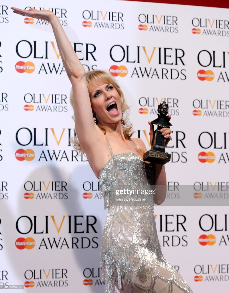 Leigh Zimmerman with her Best Performance in a Supporting Role in a Musical during The Laurence Olivier Awards at the Royal Opera House on April 28, 2013 in London, England.