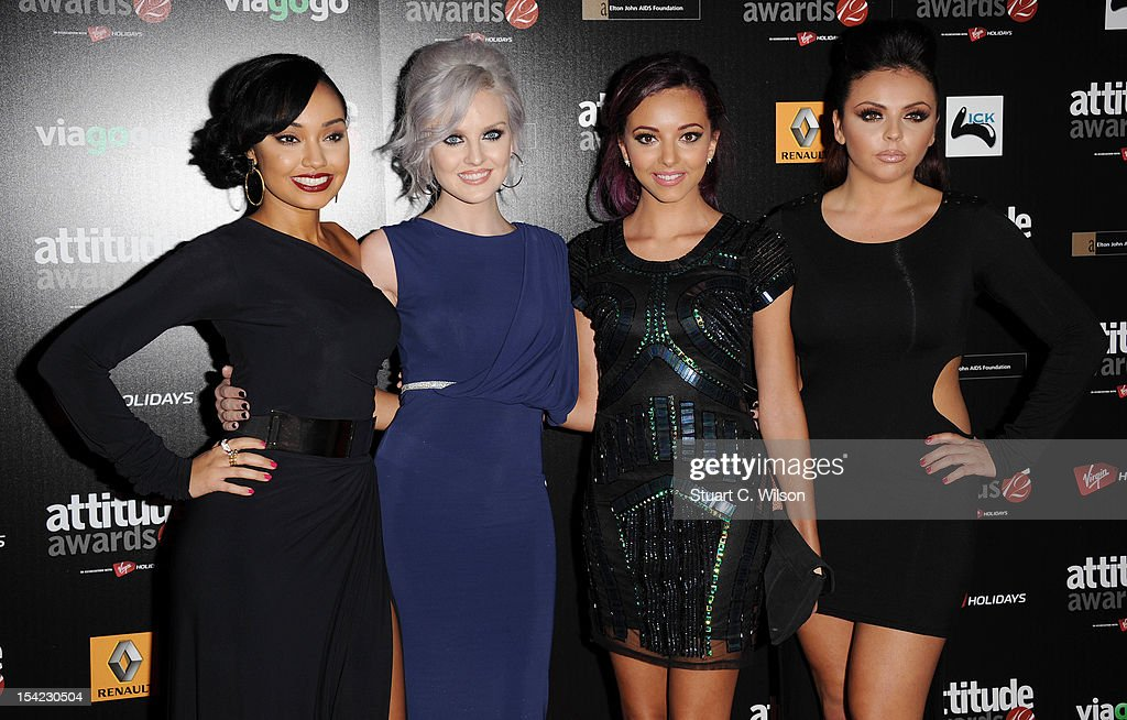 Leigh-Ann Pinnock, <a gi-track='captionPersonalityLinkClicked' href=/galleries/search?phrase=Perrie+Edwards&family=editorial&specificpeople=8378323 ng-click='$event.stopPropagation()'>Perrie Edwards</a>, Jade Thirlwell and Jessie Nelson of Little Mix attend the Attitude Magazine Awards at One Mayfair on October 16, 2012 in London, England.