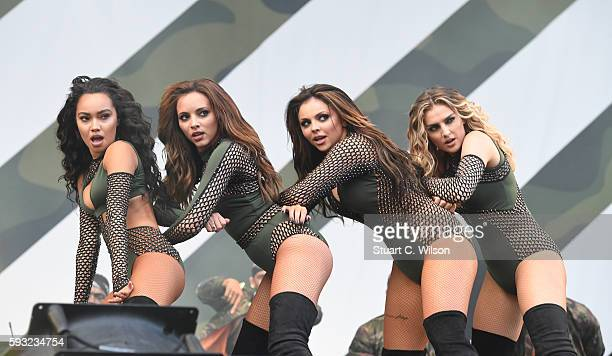 LeighAnne Pinnock Jade Thirlwall Jesy Nelson and Perri Edwards of 'Little Mix' perform during the V Festival at Hylands Park on August 21 2016 in...