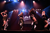 LeighAnne Pinnock Jade Thirlwall Jesy Nelson and Perrie Edwards from Little Mix perform for KISS FM at The KISS Secret Sessions gig on July 10 2015...