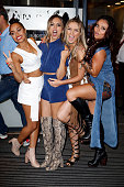 LeighAnne Pinnock Jade Thirlwall Perrie Edwards and Jesy Nelson of Little Mix pose for pictures was they leave the BBC Radio 1 Studios on July 13...