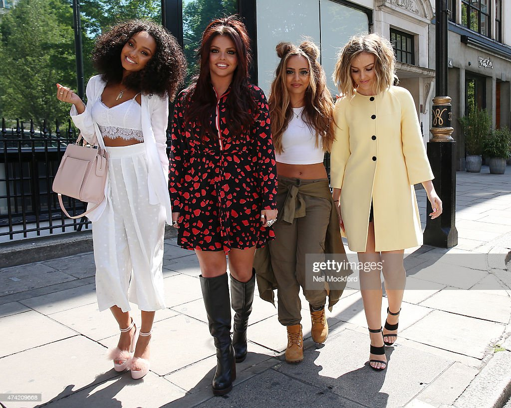LeighAnne Pinnock Jesy Nelson Jade Thirlwall and Perrie Edwards of Little Mix seen leaving KISS FM UK's Breakfast Show after promoting their new...
