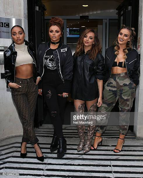 LeighAnne Pinnock Jesy Nelson Jade Thirlwall and Perrie Edwards promoting Little Mix's New album 'Glory Days' at BBC Radio 2 on November 19 2016 in...