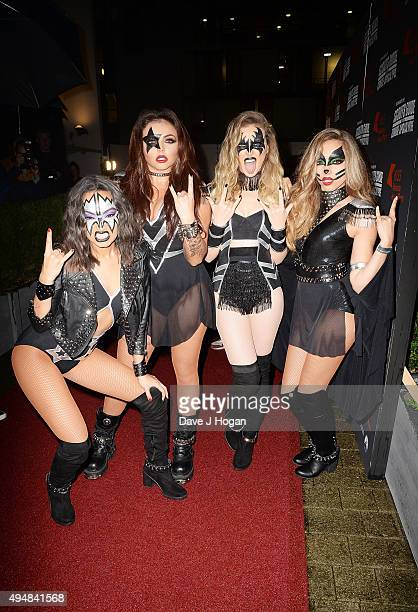 LeighAnne Pinnock Jesy Nelson Perrie Edwards and Jade Thirlwall of Little Mix attend the KISS FM Haunted House Party at SSE Arena on October 29 2015...