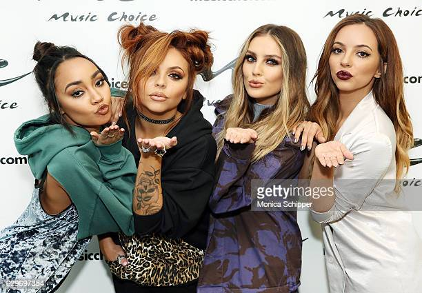 LeighAnne Pinnock Jesy Nelson Perrie Edwards and Jade Thirlwall of Little Mix visit Music Choice at Music Choice on December 14 2016 in New York City