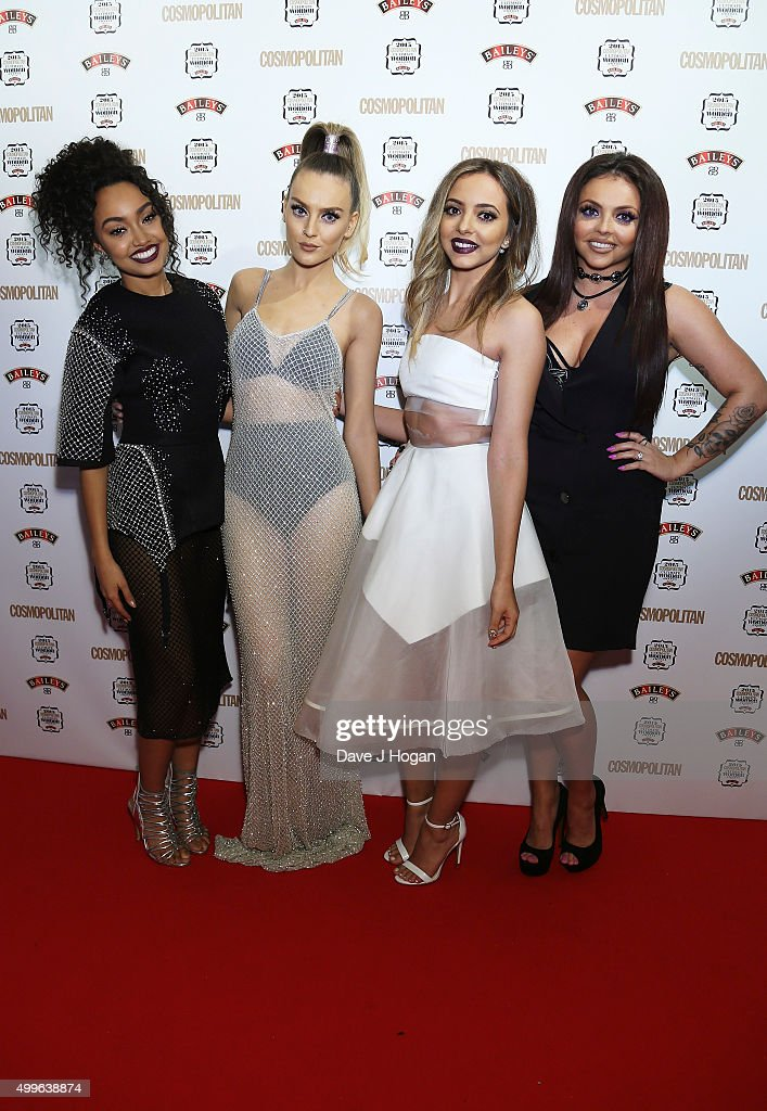 LeighAnne Pinnock Perrie Edwards Jade Thirlwal and Jesy Nelson of little Mix pose for a photo after winning the award for Girl Group during the...
