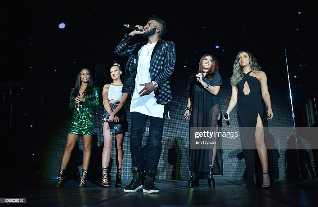 <a gi-track='captionPersonalityLinkClicked' href=/galleries/search?phrase=Leigh-Anne+Pinnock&family=editorial&specificpeople=8378207 ng-click='$event.stopPropagation()'>Leigh-Anne Pinnock</a>, <a gi-track='captionPersonalityLinkClicked' href=/galleries/search?phrase=Perrie+Edwards&family=editorial&specificpeople=8378323 ng-click='$event.stopPropagation()'>Perrie Edwards</a>, <a gi-track='captionPersonalityLinkClicked' href=/galleries/search?phrase=Jesy+Nelson+-+Little+Mix&family=editorial&specificpeople=8378192 ng-click='$event.stopPropagation()'>Jesy Nelson</a> and <a gi-track='captionPersonalityLinkClicked' href=/galleries/search?phrase=Jade+Thirlwall&family=editorial&specificpeople=8378191 ng-click='$event.stopPropagation()'>Jade Thirlwall</a> of Little Mix perform live on stage with Jason Derulo (C) at the O2 Arena on February 5, 2016 in London, England.
