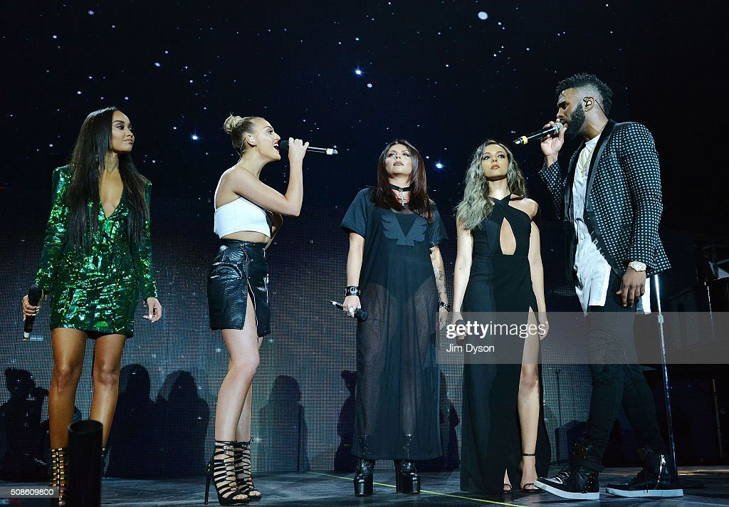 <a gi-track='captionPersonalityLinkClicked' href=/galleries/search?phrase=Leigh-Anne+Pinnock&family=editorial&specificpeople=8378207 ng-click='$event.stopPropagation()'>Leigh-Anne Pinnock</a>, <a gi-track='captionPersonalityLinkClicked' href=/galleries/search?phrase=Perrie+Edwards&family=editorial&specificpeople=8378323 ng-click='$event.stopPropagation()'>Perrie Edwards</a>, <a gi-track='captionPersonalityLinkClicked' href=/galleries/search?phrase=Jesy+Nelson+-+Little+Mix&family=editorial&specificpeople=8378192 ng-click='$event.stopPropagation()'>Jesy Nelson</a> and <a gi-track='captionPersonalityLinkClicked' href=/galleries/search?phrase=Jade+Thirlwall&family=editorial&specificpeople=8378191 ng-click='$event.stopPropagation()'>Jade Thirlwall</a> of Little Mix perform live on stage with Jason Derulo (R) at the O2 Arena on February 5, 2016 in London, England.