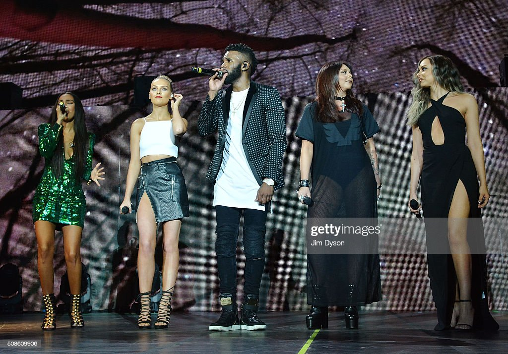 <a gi-track='captionPersonalityLinkClicked' href=/galleries/search?phrase=Leigh-Anne+Pinnock&family=editorial&specificpeople=8378207 ng-click='$event.stopPropagation()'>Leigh-Anne Pinnock</a>, <a gi-track='captionPersonalityLinkClicked' href=/galleries/search?phrase=Perrie+Edwards&family=editorial&specificpeople=8378323 ng-click='$event.stopPropagation()'>Perrie Edwards</a>, <a gi-track='captionPersonalityLinkClicked' href=/galleries/search?phrase=Jesy+Nelson+-+Little+Mix&family=editorial&specificpeople=8378192 ng-click='$event.stopPropagation()'>Jesy Nelson</a> and <a gi-track='captionPersonalityLinkClicked' href=/galleries/search?phrase=Jade+Thirlwall&family=editorial&specificpeople=8378191 ng-click='$event.stopPropagation()'>Jade Thirlwall</a> of Little Mix perform live on stage with <a gi-track='captionPersonalityLinkClicked' href=/galleries/search?phrase=Jason+Derulo&family=editorial&specificpeople=5745869 ng-click='$event.stopPropagation()'>Jason Derulo</a> (C) at the O2 Arena on February 5, 2016 in London, England.