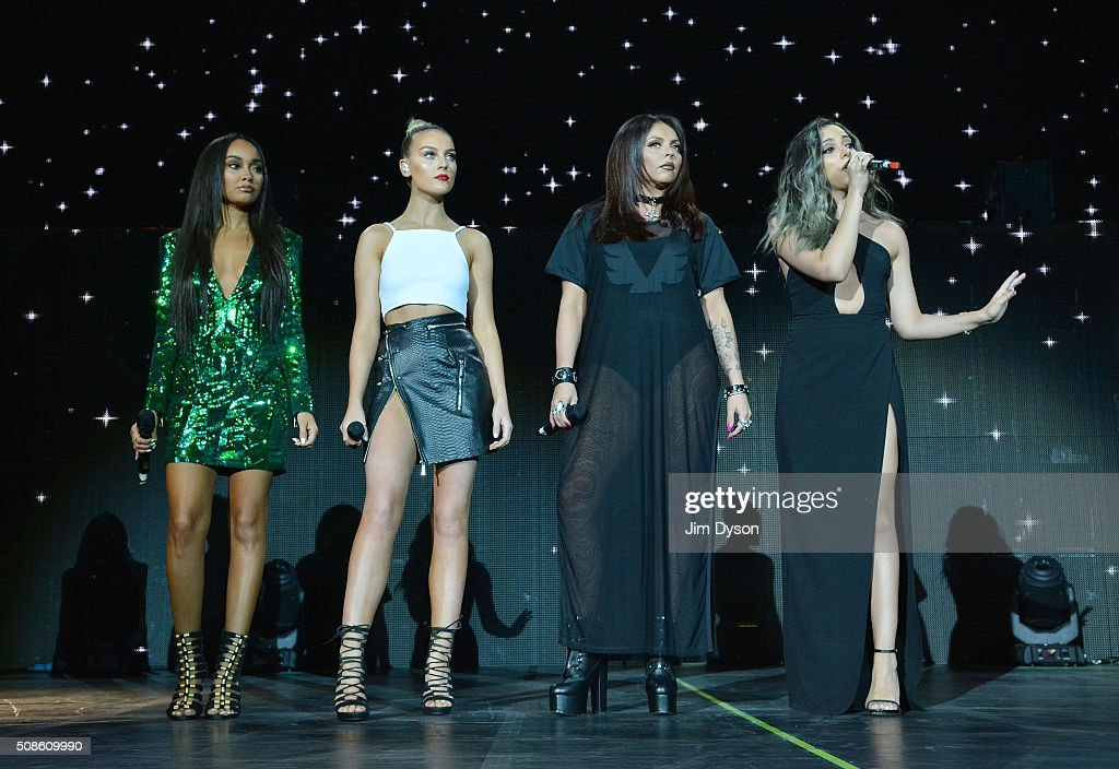 <a gi-track='captionPersonalityLinkClicked' href=/galleries/search?phrase=Leigh-Anne+Pinnock&family=editorial&specificpeople=8378207 ng-click='$event.stopPropagation()'>Leigh-Anne Pinnock</a>, <a gi-track='captionPersonalityLinkClicked' href=/galleries/search?phrase=Perrie+Edwards&family=editorial&specificpeople=8378323 ng-click='$event.stopPropagation()'>Perrie Edwards</a>, <a gi-track='captionPersonalityLinkClicked' href=/galleries/search?phrase=Jesy+Nelson+-+Little+Mix&family=editorial&specificpeople=8378192 ng-click='$event.stopPropagation()'>Jesy Nelson</a> and <a gi-track='captionPersonalityLinkClicked' href=/galleries/search?phrase=Jade+Thirlwall&family=editorial&specificpeople=8378191 ng-click='$event.stopPropagation()'>Jade Thirlwall</a> of Little Mix perform live on stage with Jason Derulo at the O2 Arena on February 5, 2016 in London, England.