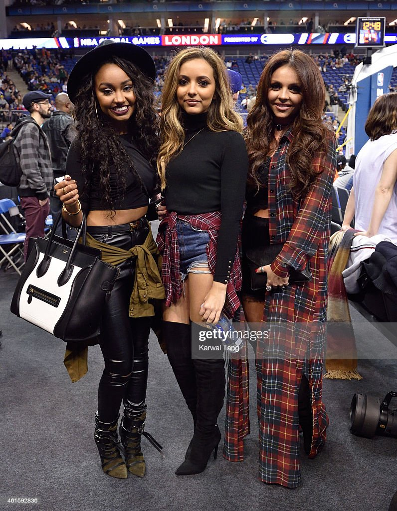 LeighAnne Pinnockl Jade Thirwall Jesy Nelson of Little Mix attend the NBA Global Games match between New York Knicks and Milwaukee Bucks at 02 Arena...