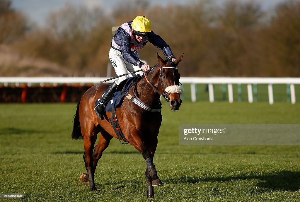 Leighton Aspell riding Fight Commander clear the last to win The 32Red On The App Store Steeple Chase at Huntingdon racecourse on February 11, 2016 in Huntingdon, England.