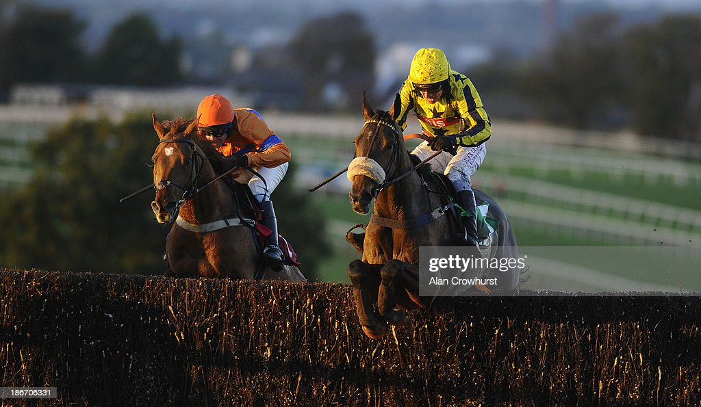 Leighton Aspell riding Global Power clear the last to win The Cumberland Handicap Steeple Chase at Carlisle racecourse on November 03, 2013 in Carlisle, England.