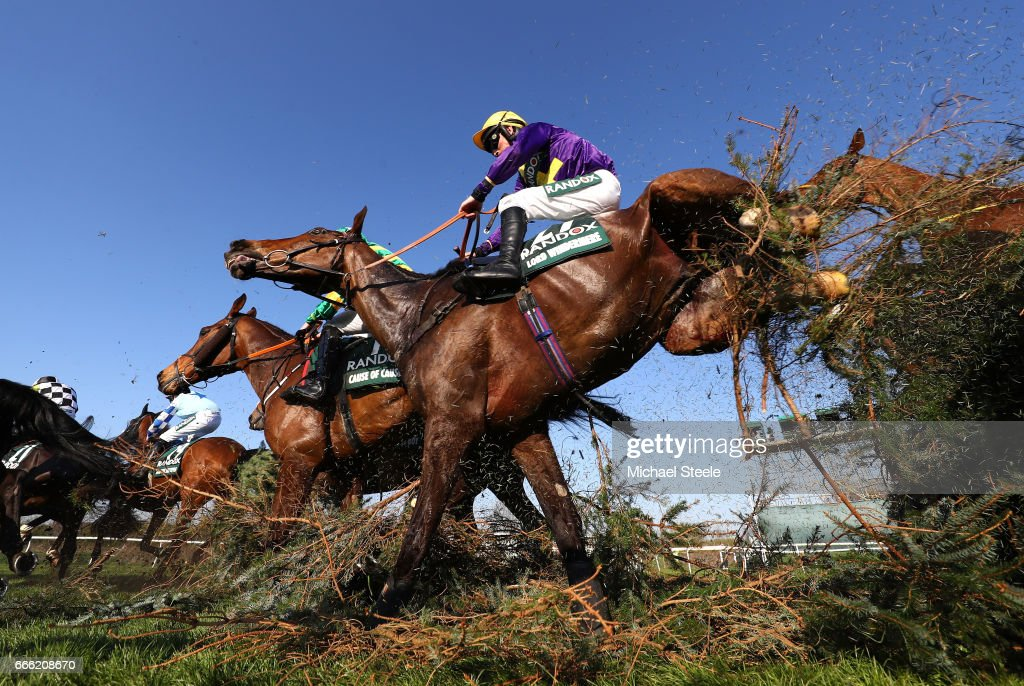 Leighton Aspell riding Lord Windermere jumps over the Canal Turn during the 2017 Randox Heath Grand National at Aintree Racecourse on April 8, 2017 in Liverpool, England.