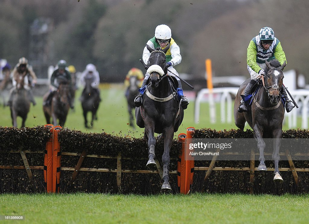 Leighton Aspell riding Many Clouds (C) clear the last to win The Bathwick Tyres 'National Hunt' Novices' Hurdle Race from Just A Par (R) at Exeter racecourse on February 10, 2013 in Exeter, England.