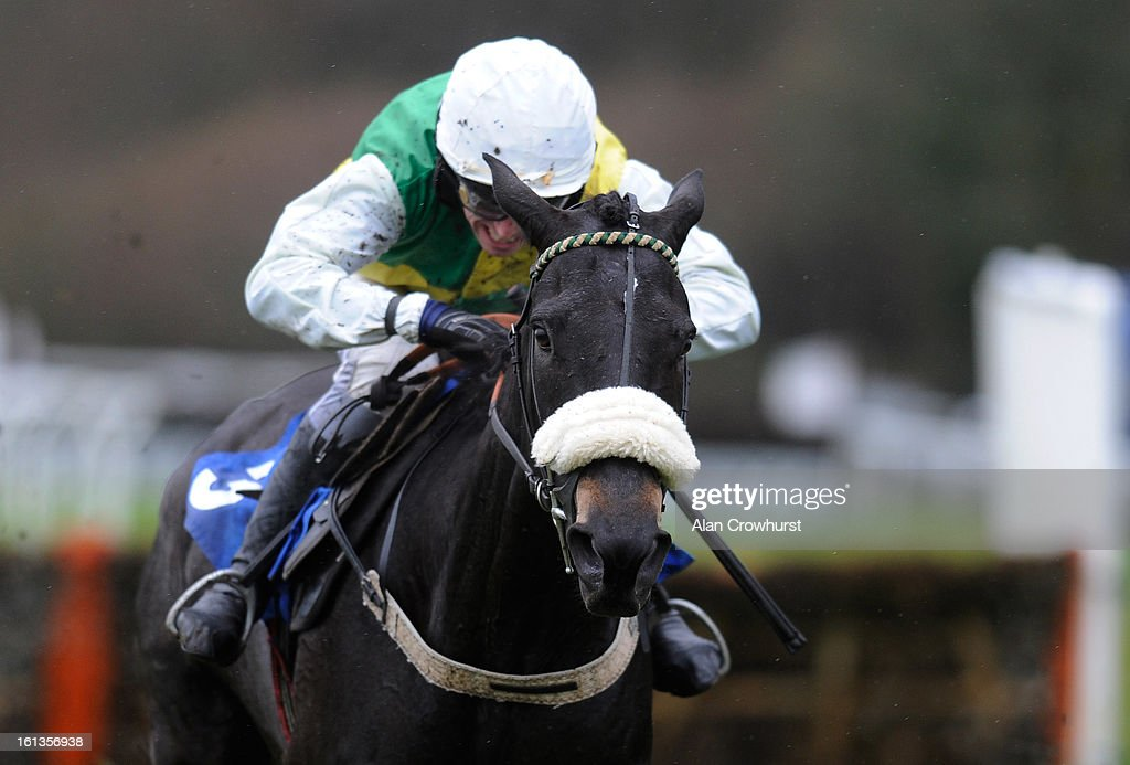 Leighton Aspell riding Many Clouds clear the last to win The Bathwick Tyres 'National Hunt' Novices' Hurdle Race at Exeter racecourse on February 10, 2013 in Exeter, England.