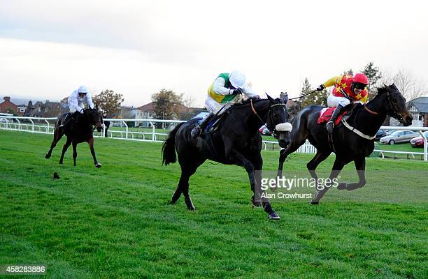 Leighton Aspell riding Many Clouds clear the last to win The Colin Parker Memorial Intermediate Steeple Chase at Carlisle racecourse on November 02...