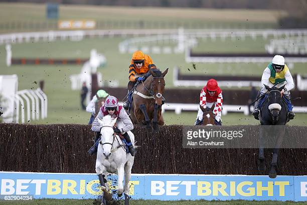 Leighton Aspell riding Many Clouds on their way to winning The BetBright Trial Cotswold Steeple Chase from Thistlecrack at Cheltenham Racecourse on...