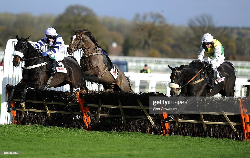 Leighton Aspell riding Many Colours clear the last to win The Berkshire Media Group 'National Hunt' Maiden Hurdel Race from Fergll (L) at Ascot racecourse on November 23, 2012 in Ascot, England.