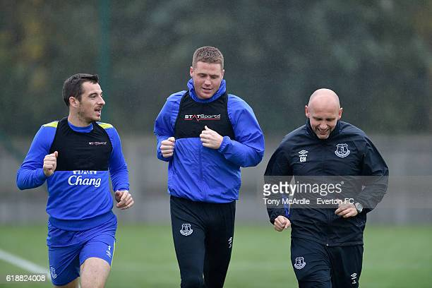 Leighton Baines and James McCarthy during the Everton FC training session at Finch Farm on October 28 2016 in Halewood England