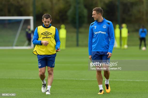 Leighton Baines and Phil Jagielka during the Everton training session at USM Finch Farm on October 20 2017 in Halewood England