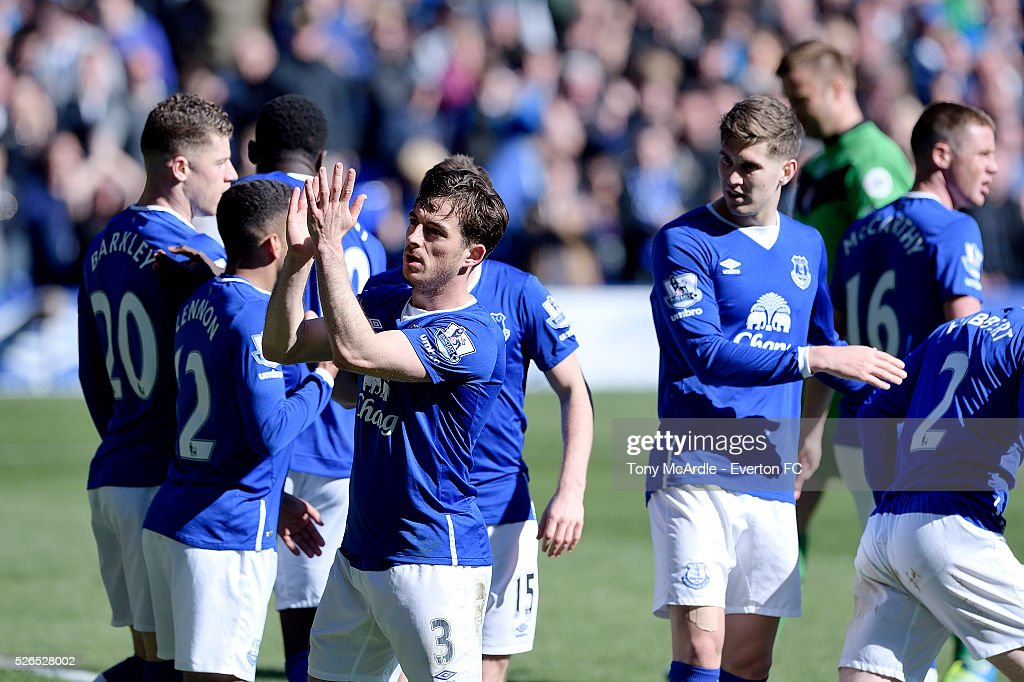 Leighton Baines celebrates his goal during the Barclays Premier League match between Everton and A.F.C. Bournemouth at Goodison Park on April 30, 2016 in Liverpool, England.