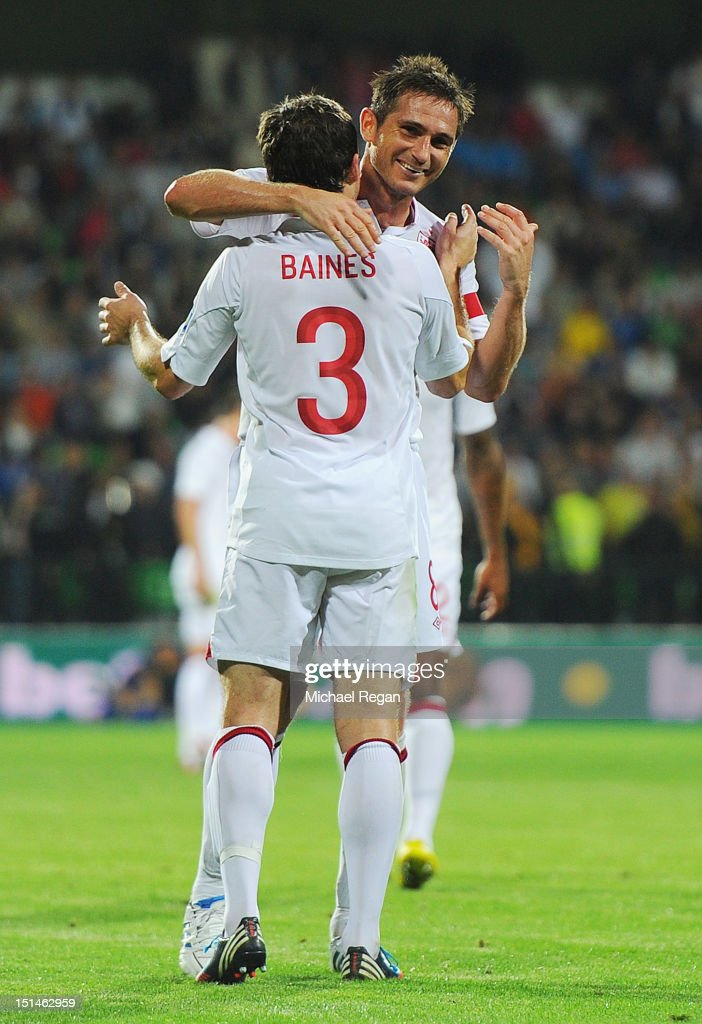 Leighton Baines of England celebrates scoring to make it 5-0 with Frank Lampard during the FIFA 2014 World Cup qualifier match between Moldova and England at Zimbru Stadium on September 7, 2012 in Chisinau, Moldova.