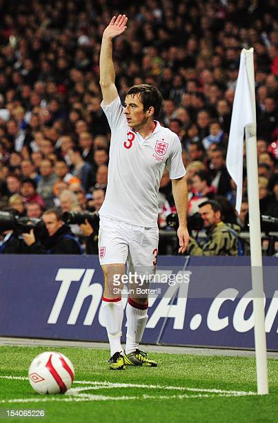 Leighton Baines of England prepares to take a corner during the FIFA 2014 World Cup Group H qualifying match between England and San Marino at...