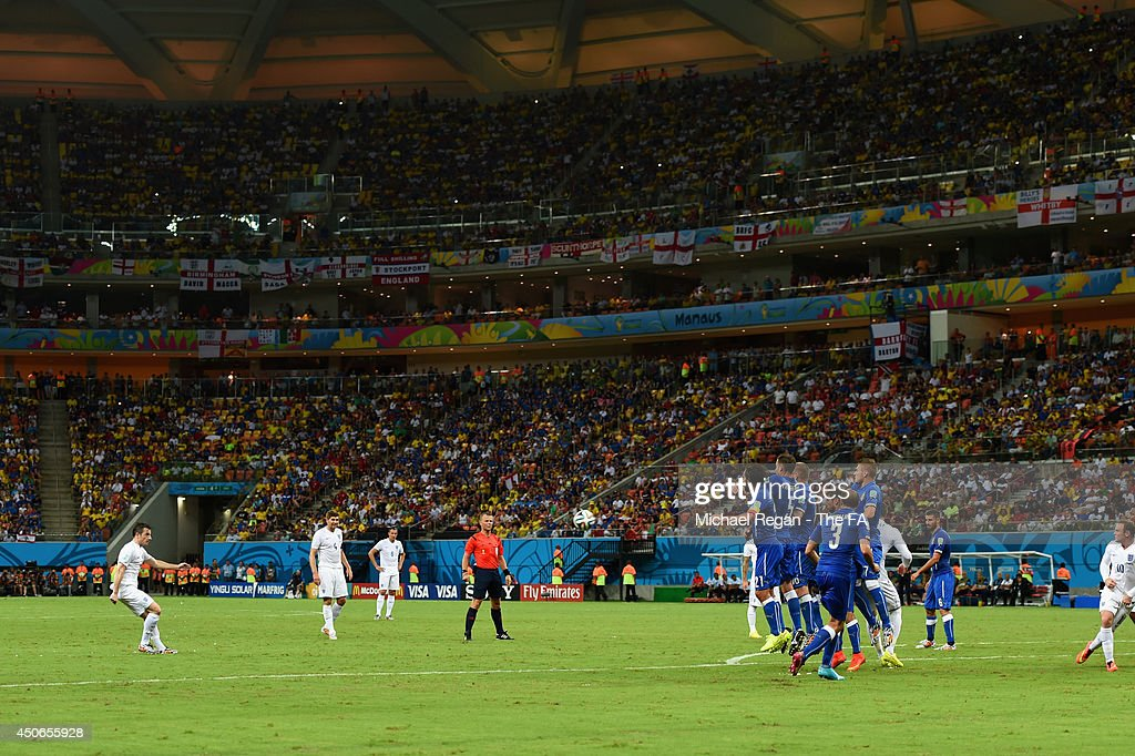 Leighton Baines of England takes a free kick during the 2014 FIFA World Cup Brazil Group D match between England and Italy at Arena Amazonia on June 14, 2014 in Manaus, Brazil.
