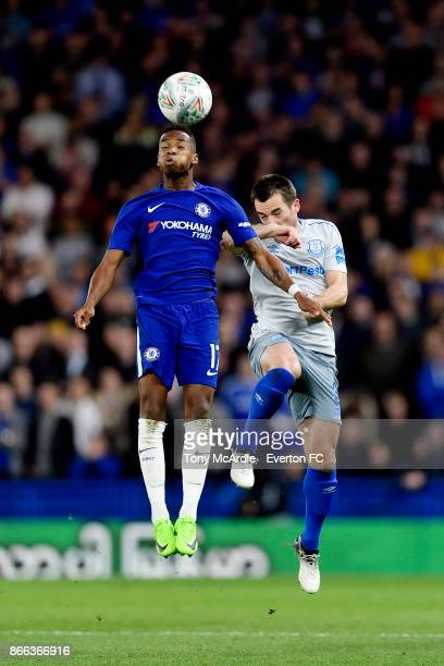 Leighton Baines of Everton and Charly Musonda during the Carabao Cup Fourth Round match between Chelsea and Everton at Stamford Bridge on October 25...