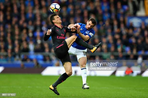 Leighton Baines of Everton and Laurent Koscielny of Arsenal in action during the Premier League match between Everton and Arsenal at Goodison Park on...