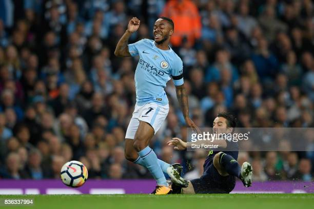 Leighton Baines of Everton and Raheem Sterling of Manchester City in action during the Premier League match between Manchester City and Everton at...