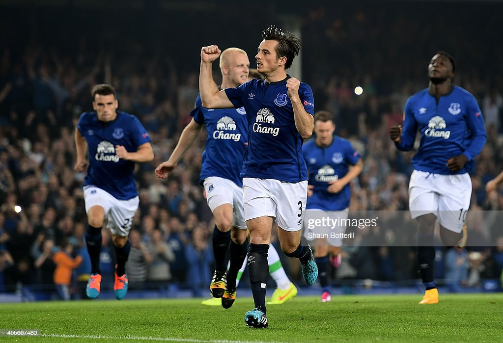 Leighton Baines of Everton celebrates after scoring his team's third goal from the penalty spot during the UEFA Europa League Group H match between...