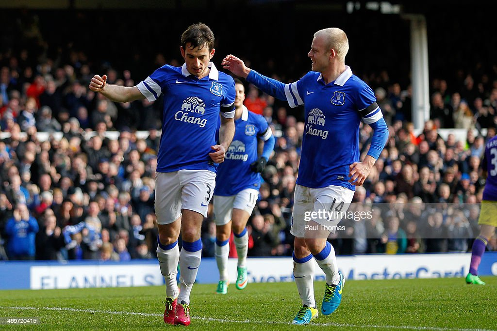 <a gi-track='captionPersonalityLinkClicked' href=/galleries/search?phrase=Leighton+Baines&family=editorial&specificpeople=682452 ng-click='$event.stopPropagation()'>Leighton Baines</a> (L) of Everton celebrates his goal with team mate <a gi-track='captionPersonalityLinkClicked' href=/galleries/search?phrase=Steven+Naismith&family=editorial&specificpeople=4130861 ng-click='$event.stopPropagation()'>Steven Naismith</a> during the FA Cup Fifth Round match between Everton and Swansea City at Goodison Park on February 16, 2014 in Liverpool, England.