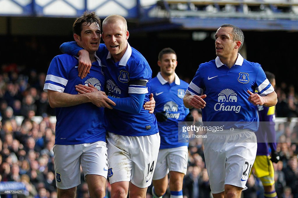 Leighton Baines (L) of Everton celebrates his goal with team mates Steven Naismith (C) and Leon Osman during the FA Cup Fifth Round match between Everton and Swansea City at Goodison Park on February 16, 2014 in Liverpool, England.