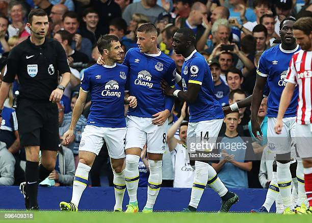 Leighton Baines of Everton celebrates scoring a penalty during the Premier League match between Everton and Stoke City at Goodison Park on August 27...