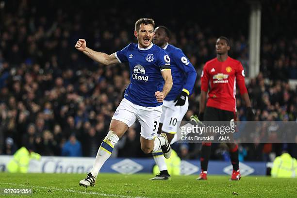Leighton Baines of Everton celebrates scoring an equalising goal from a penalty to make the score 11 during the Premier League match between Everton...