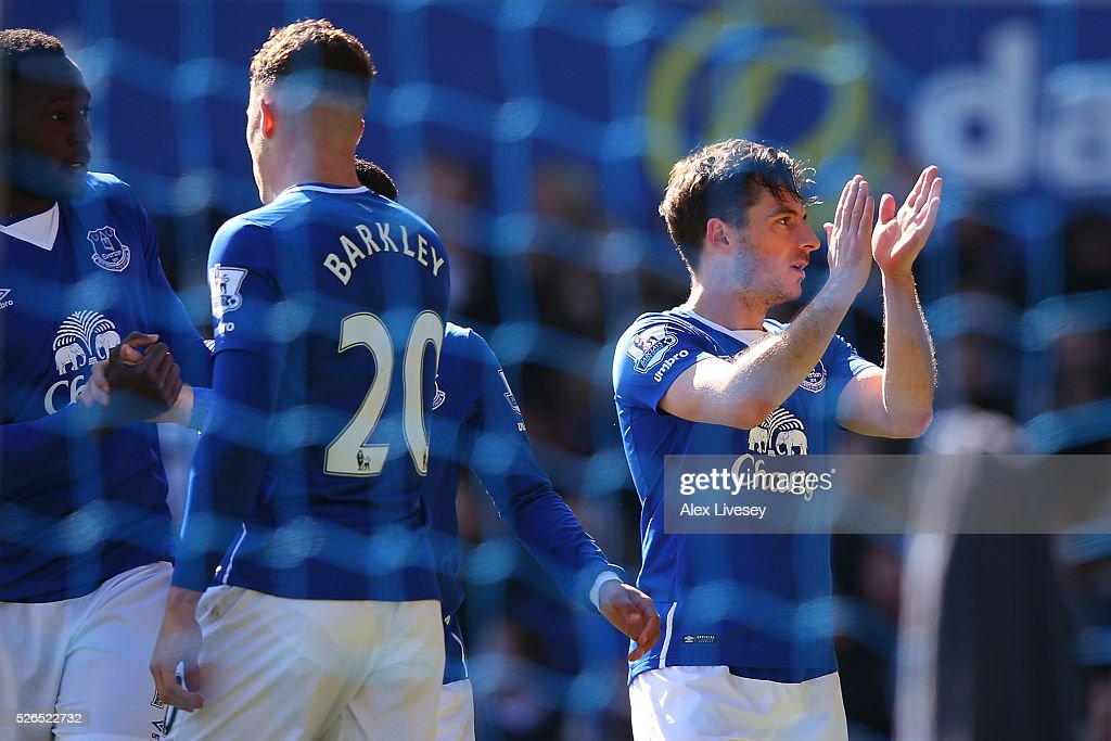 Leighton Baines of Everton celebrates scoring his team's second goal during the Barclays Premier League match between Everton and A.F.C. Bournemouth at Goodison Park on April 30, 2016 in Liverpool, England.