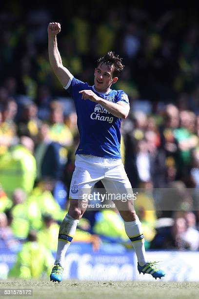 Leighton Baines of Everton celebrates scoring his team's second goal during the Barclays Premier League match between Everton and Norwich City at...