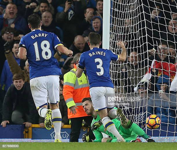 Leighton Baines of Everton celebrates scoring their first goalduring the Premier League match between Everton and Manchester United at Goodison Park...