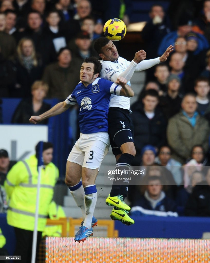 <a gi-track='captionPersonalityLinkClicked' href=/galleries/search?phrase=Leighton+Baines&family=editorial&specificpeople=682452 ng-click='$event.stopPropagation()'>Leighton Baines</a> of Everton challenges <a gi-track='captionPersonalityLinkClicked' href=/galleries/search?phrase=Kyle+Walker&family=editorial&specificpeople=5609702 ng-click='$event.stopPropagation()'>Kyle Walker</a> of Tottenham Hotspur for the ball during the Barclays Premier League match between Everton and Tottenham Hotspur at Goodison Park on November 3, 2013 in Liverpool, England.