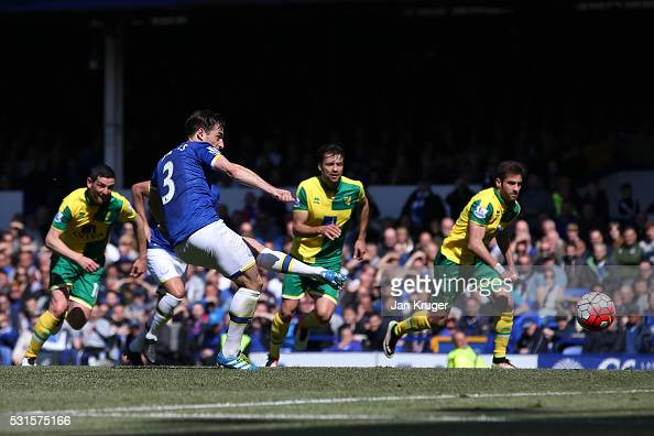 Leighton Baines of Everton converts the penalty to score his team's second goal during the Barclays Premier League match between Everton and Norwich...