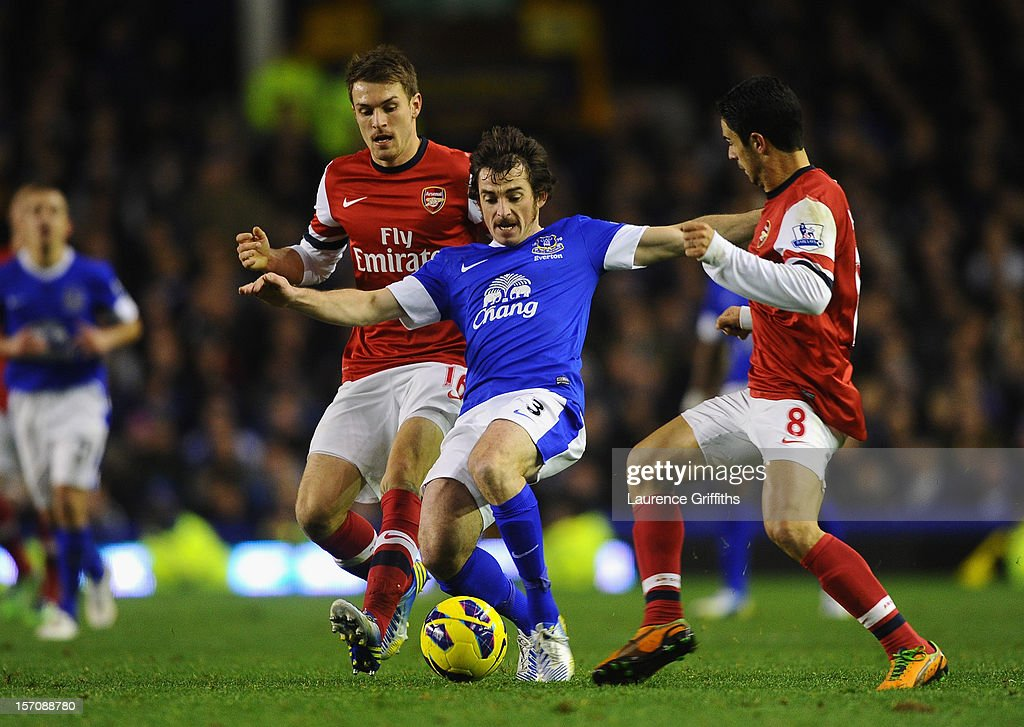 <a gi-track='captionPersonalityLinkClicked' href=/galleries/search?phrase=Leighton+Baines&family=editorial&specificpeople=682452 ng-click='$event.stopPropagation()'>Leighton Baines</a> of Everton is challenged by <a gi-track='captionPersonalityLinkClicked' href=/galleries/search?phrase=Aaron+Ramsey+-+Soccer+Player&family=editorial&specificpeople=4784114 ng-click='$event.stopPropagation()'>Aaron Ramsey</a> (L) and <a gi-track='captionPersonalityLinkClicked' href=/galleries/search?phrase=Mikel+Arteta&family=editorial&specificpeople=235322 ng-click='$event.stopPropagation()'>Mikel Arteta</a> of Arsenal during the Barclays Premier League match between Everton and Arsenal at Goodison Park on November 28, 2012 in Liverpool, England.