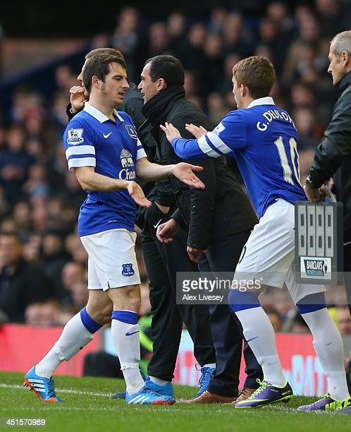 Leighton Baines of Everton is replaced by Gerard Deulofeu during the Barclays Premier League match between Everton and Liverpool at Goodison Park on...