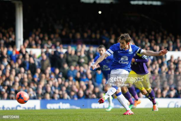 Leighton Baines of Everton scores a goal from the penalty spot during the FA Cup Fifth Round match between Everton and Swansea City at Goodison Park...