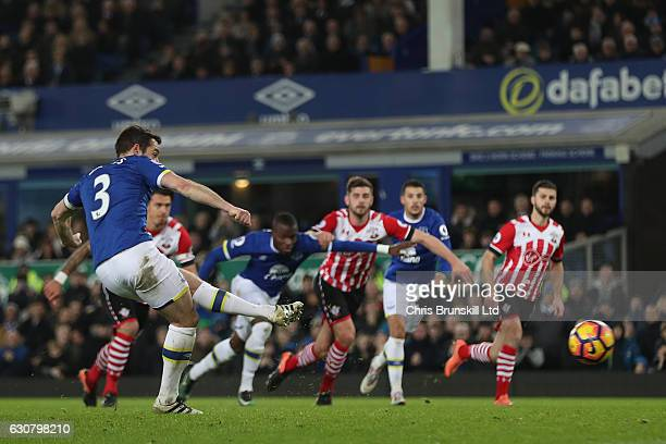 Leighton Baines of Everton scores from the spot to make it 20 during the Premier League match between Everton and Southampton at Goodison Park on...