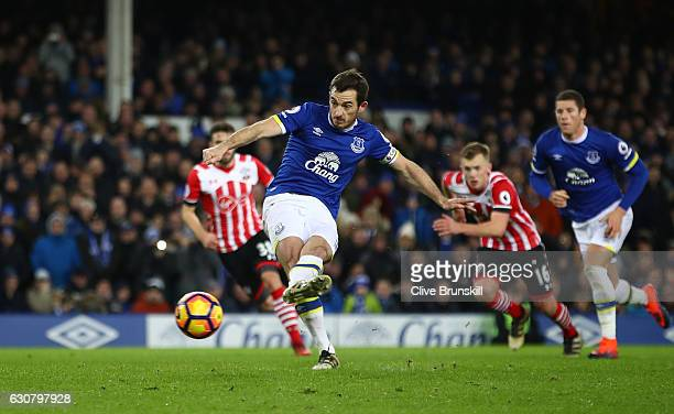 Leighton Baines of Everton scores his sides second goal from the penalty spot during the Premier League match between Everton and Southampton at...