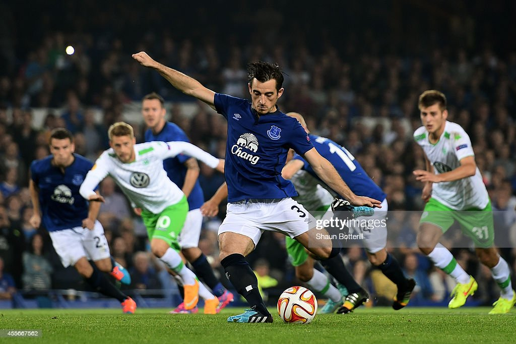 Leighton Baines of Everton scores his team's third goal from the penalty spot during the UEFA Europa League Group H match between Everton and VFL Wolfsburg on September 18, 2014 in Liverpool, United Kingdom.