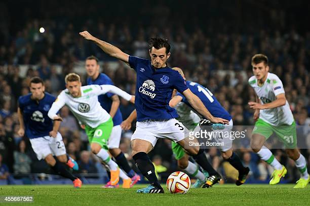 Leighton Baines of Everton scores his team's third goal from the penalty spot during the UEFA Europa League Group H match between Everton and VFL...