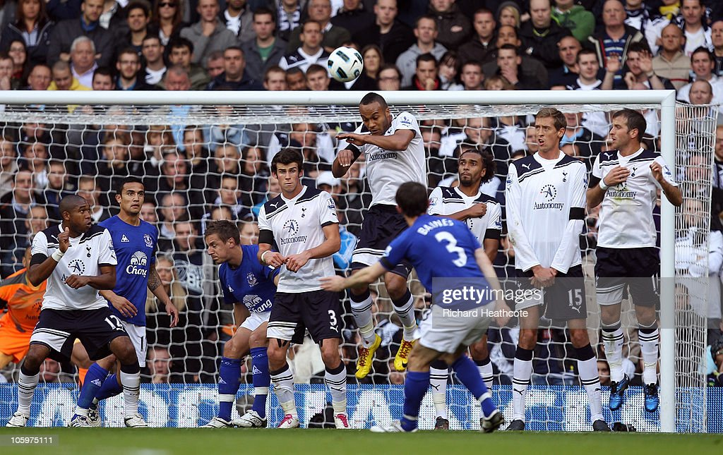 <a gi-track='captionPersonalityLinkClicked' href=/galleries/search?phrase=Leighton+Baines&family=editorial&specificpeople=682452 ng-click='$event.stopPropagation()'>Leighton Baines</a> of Everton scores the first goal from a freekick during the Barclays Premier League match between Tottenham Hotspur and Everton at White Hart Lane on October 23, 2010 in London, England.